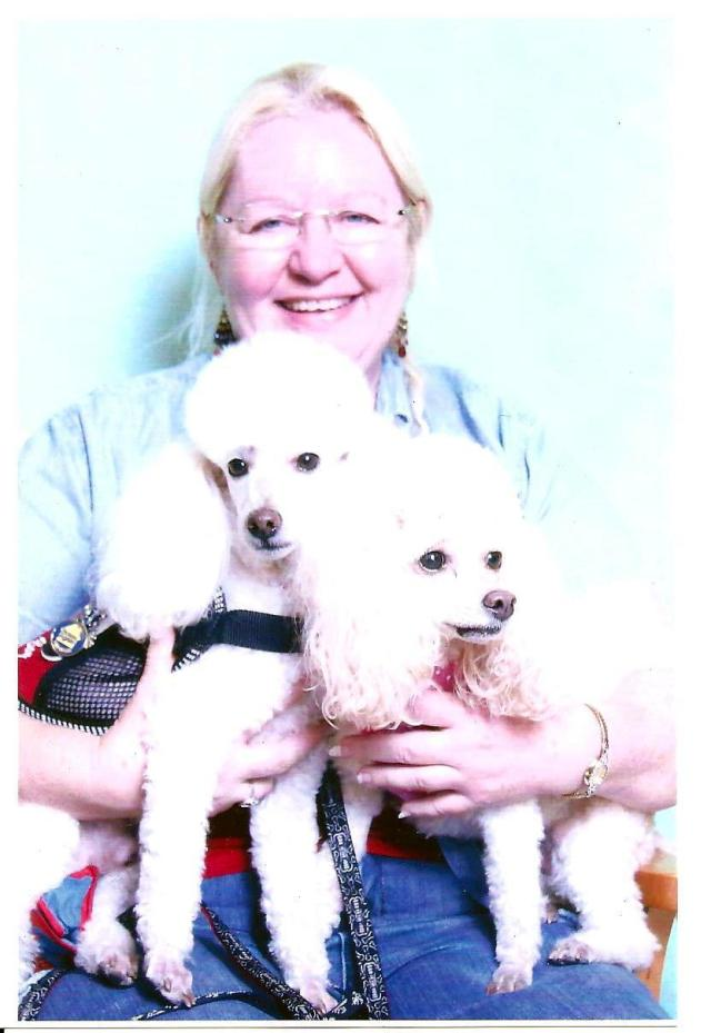 Paula with her Sugar Dogs: Sugar Boy (on left) and Peaches & Cream